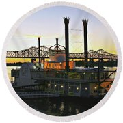 Mississippi Riverboat Sunset Round Beach Towel