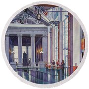Round Beach Towel featuring the painting Missouri History Museum by Michael Frank
