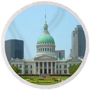 Round Beach Towel featuring the photograph Missouri State Capitol Building by Mike McGlothlen
