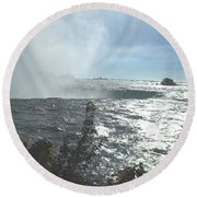 Mist At The Falls Round Beach Towel