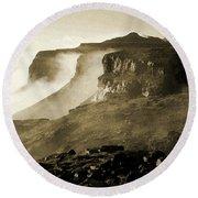 Mist In Lesotho Round Beach Towel