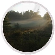 Mist In The Meadow Round Beach Towel by Pat Purdy