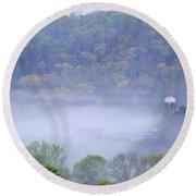 Mist In The Valley Round Beach Towel