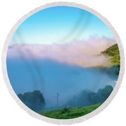 Round Beach Towel featuring the photograph Mist In Tineo by Fabrizio Troiani