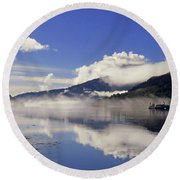 Round Beach Towel featuring the photograph Mist On The Loch by Lynn Bolt