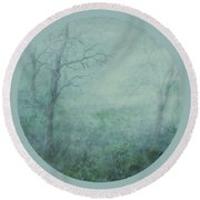 Mist On The Meadow Round Beach Towel
