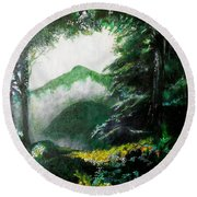 Mist On The Mountain Round Beach Towel by Seth Weaver