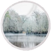Mist On The River Round Beach Towel