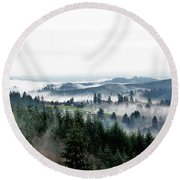 Mist Rising Round Beach Towel
