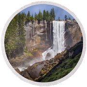 Mist Trail And Vernal Falls Round Beach Towel