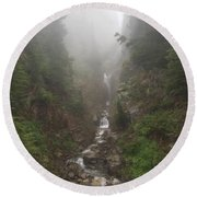 Misted Waterfall Round Beach Towel