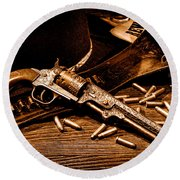 Mister Durant's Revolver - Sepia Round Beach Towel