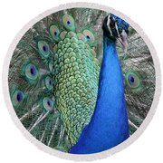 Mister Peacock Round Beach Towel