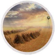 Misty Amish Sunrise Round Beach Towel
