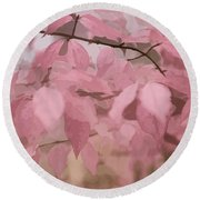 Misty Autumn Leaves Round Beach Towel by Judy Palkimas
