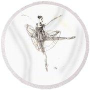 Misty Ballerina Dancer IIi Round Beach Towel