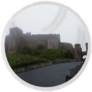 Misty Bamburgh Castle Round Beach Towel