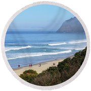 Misty Beach Morning Round Beach Towel