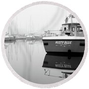 Round Beach Towel featuring the photograph Misty Blue Eastbourne by Will Gudgeon