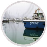 Round Beach Towel featuring the photograph Misty Blue, Sovereign Harbour, Eastbourne by Will Gudgeon