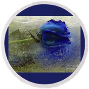 Round Beach Towel featuring the digital art Misty Blue by Terry Foster