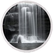 Misty Canyon Waterfall Round Beach Towel