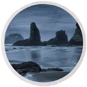 Misty Coast Round Beach Towel