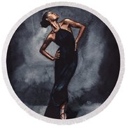 Misty Copeland Ballerina Dancer In A Black Dress Round Beach Towel