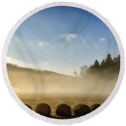 Round Beach Towel featuring the photograph Misty Country Morning by Thomas R Fletcher