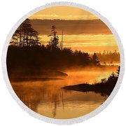 Misty Dawn At Gabbro Lake Round Beach Towel