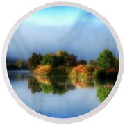 Misty Fall Colors On The River Round Beach Towel
