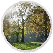 Misty Fall Day At Hyde Park Round Beach Towel