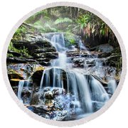 Misty Falls Round Beach Towel by Az Jackson