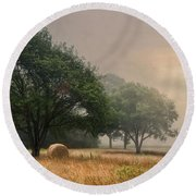 Round Beach Towel featuring the photograph Misty Fields by Robin-Lee Vieira
