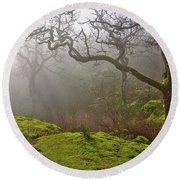 Misty Forest Round Beach Towel by Keith Boone