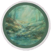 The Misty Forest Stream Round Beach Towel by Mary Wolf