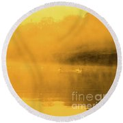 Misty Gold Round Beach Towel