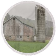 Round Beach Towel featuring the photograph Misty Grey by Rod Best