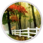 Round Beach Towel featuring the painting Misty In The Dell P D P by David Dehner