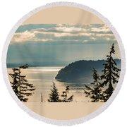 Misty Island Round Beach Towel by Ed Clark
