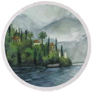 Misty Island Round Beach Towel by Laurie Morgan