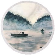 Round Beach Towel featuring the painting Misty Lake by Lucia Grilletto