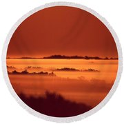 Misty Meadow At Sunrise Round Beach Towel