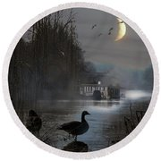 Misty Moonlight Round Beach Towel