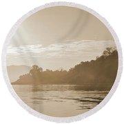 Misty Morning 2 Round Beach Towel by Kiran Joshi