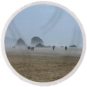 Misty Morning At Cannon Beach Round Beach Towel