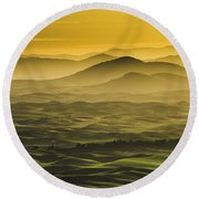 Misty Morning At Palouse. Round Beach Towel