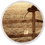 Misty Morning At The Ranch Round Beach Towel
