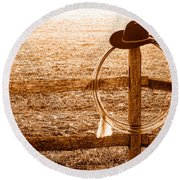 Misty Morning At The Ranch - Sepia Round Beach Towel