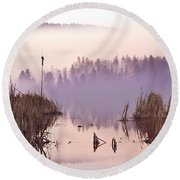 Misty Morning At Vaseux Lake Round Beach Towel
